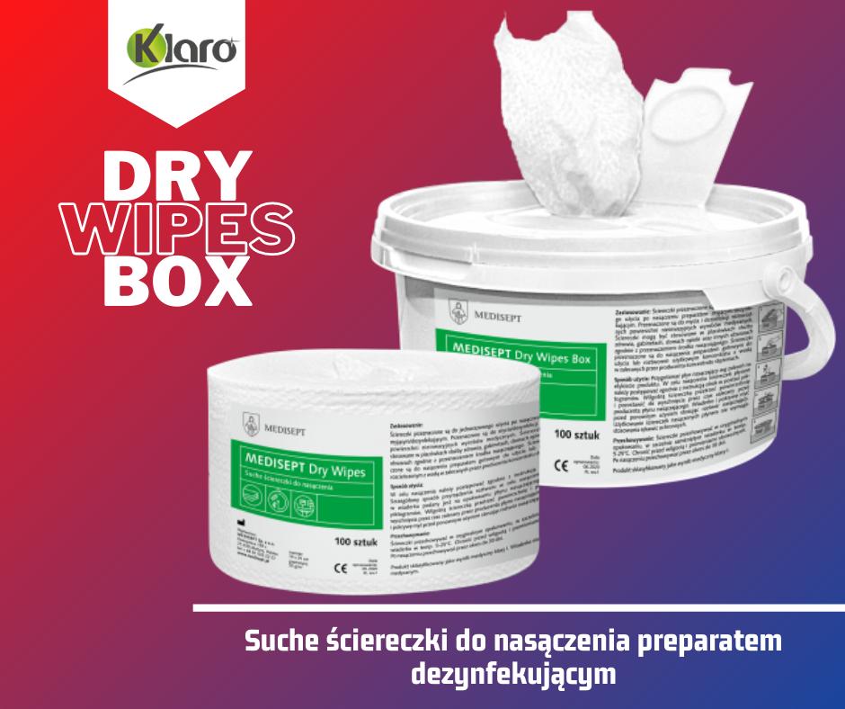 Dry wipes box - suche ściereczki do nasączenia preparatem dezynfekującym